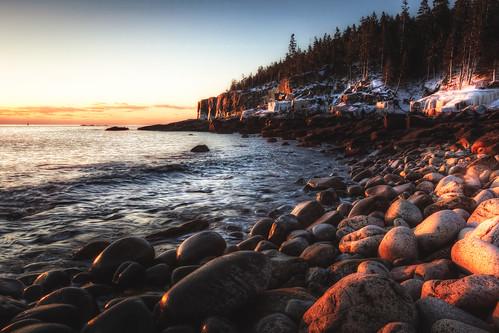 ocean winter seascape ice beach sunrise landscape dawn maine seashore atlanticocean barharbor acadianationalpark