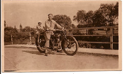 Uncle Joe Simanek and Lillian Vanac on a Motorcycle