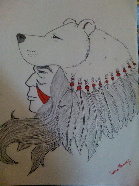 Bear headdress drawing - photo#9