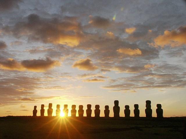 Moais at Dawn, Ahu Tongariki, Easter Island, (Chile)