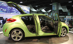 automobile, exhibition, wheel, vehicle, automotive design, auto show, subcompact car, city car, hyundai veloster, land vehicle,