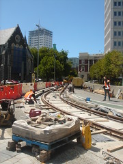 Tram Tracks being laid in Cathedral Square