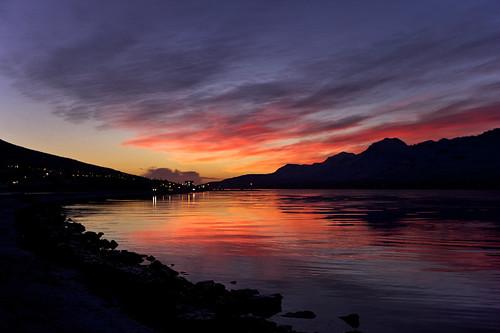 sky reflection clouds sunrise iceland village ísland ský himinn speglun sólarupprás fáskrúðsfjörður faskrudsfjordur þorp jónínaguðrúnóskarsdóttir