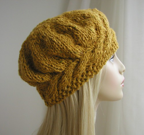 Irish Donegal Tweed Hand Knitted Beret