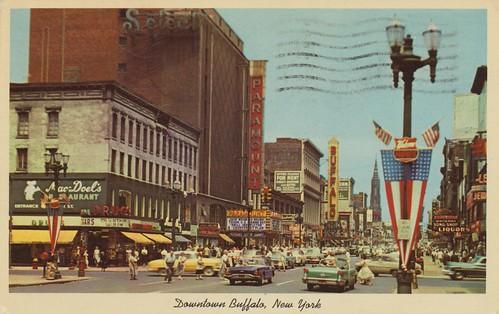 street newyork vintage buffalo postcard main cityview