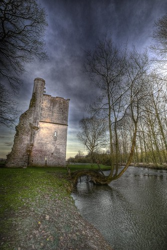 trees sunset sky tree wall ruins post mister process hdr lovell
