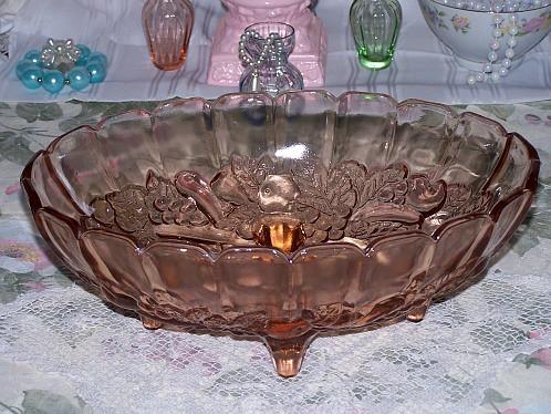 Vintage Pink Indiana Glass Garland Harvest Fruit Bowl Cons