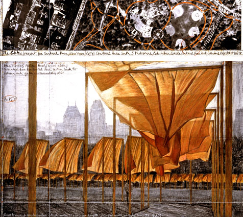 "Christo The Gates, Project for Central Park, New York City Drawing 2001, in two parts (65"" X 15"" and 65"" X 42"") Pencil, charcoal, pastel, wax crayon, enamel paint and aerial photograph Photo- Wolfgang Volz ©2001 Christo ref #13 by www.admsp.org"