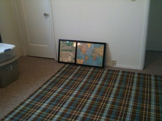 Plaid Area Rug! Dash and Albert. on sale. The maps are gift wrap and I framed them, they're gonna look AWESOME