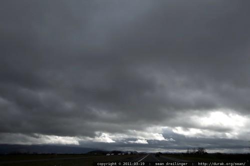 stormy oregon sky on the I 5 south