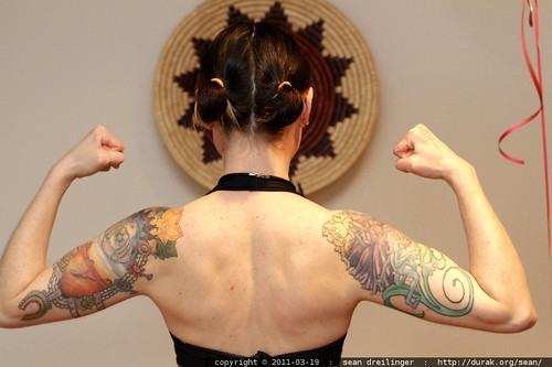 rachel modeling her little black dress and tattoos