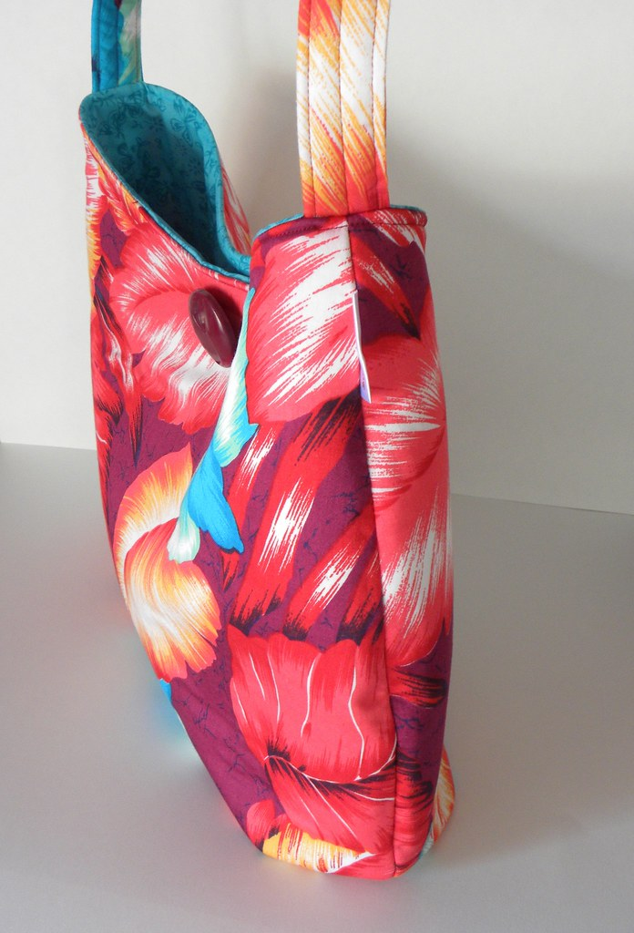 Red and Blue Hawaiian Print Handbag