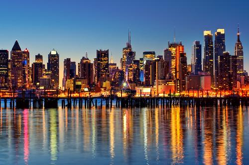city nyc newyorkcity longexposure ny newyork reflection skyline sunrise geotagged dawn newjersey bravo cityscape timessquare esb bankofamerica hudsonriver empirestatebuilding gothamist chryslerbuilding hdr hoboken newyorktimes unionhill mudpig stevekelley