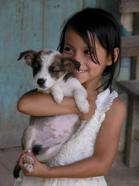 With the  puppy - Con un chachorrito; cerca de Tres Cruces, Joyabaj, El Quiché, Guatemala