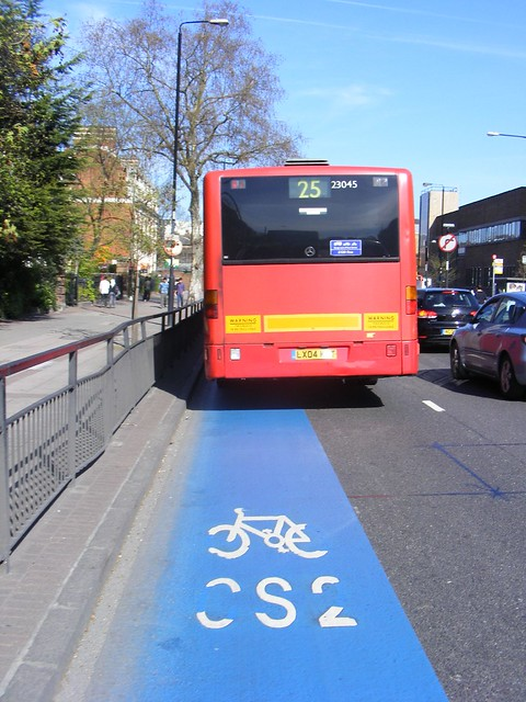 CS2 cycle superhighway, Bow E3. First  London Citaro LX04 KZT, 23045 25 route.