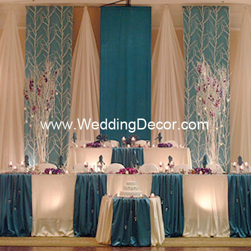 Wedding backdrop turquoise white flickr photo sharing for Back ground decoration