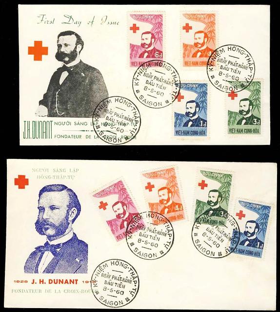 VIET NAM - 1960 - HENRY DUNANT SET ON 2 DIFFERENT FDCs - SAIGON 8 V 60