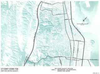 City-County Highway Plan for San Mateo County: The Future Highway Network, Area 3: Burlingame, Hillsborough, North San Mateo (1962)