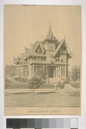 """Residence of Mr. Wallace Everson, S. W. Cor. Filbert and Sixteenth Sts., Oakland, Cal., Artotype No. 61, with """"S. F. News Letter,"""" March 10, 1888"""