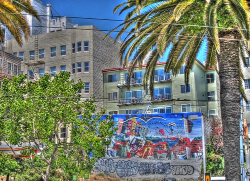 Urban Scape with Mural and Tags, Handheld HDR