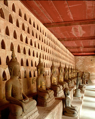 Buddha statues in a cloister of the Wat Si Saket temple, Vientiane