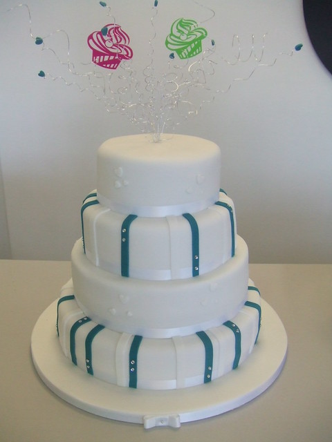 CAKE Teal wedding cake by Stacey