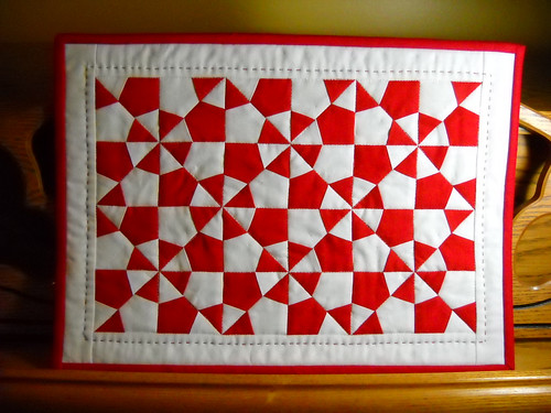 red and white miniature quilt