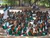 Group of schoolgirls in front of Gandhi Museum in Madurai