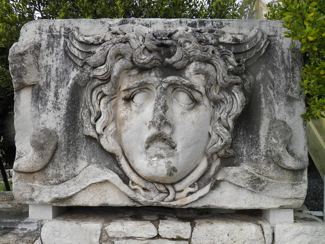 A stone-carved Medusa head, Apollo Temple, Didyma