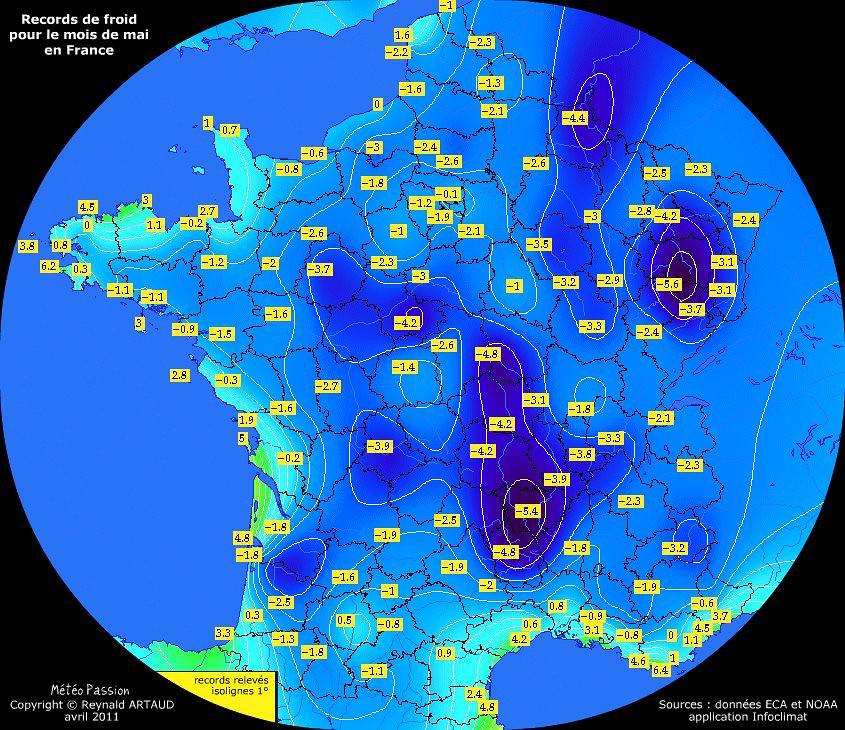 records de froid des températures minimales en mai pour la France Reynald ARTAUD météopassion