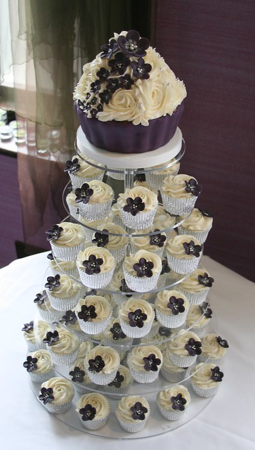 Dark Purple Wedding Cupcake Tower