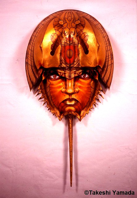 Japanese samurai warrior's ceremonial reincarnation mask (horseshoe crab mask) #17, 2002