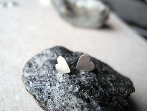 Lovely Heart Earring Studs - Sterling Silver