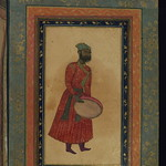 Album of Persian and Indian calligraphy and paintings, A bearded man with a tambourine, Walters Manuscript W.668, fol.68b