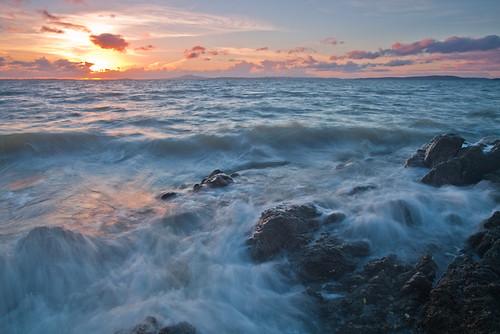 sunset sea newzealand seascape beach rocks waves dusk auckland maraetai