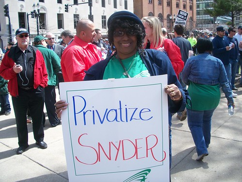 City of Detroit employee calling for the privatization of the Governor of Michigan outside the State Capitol in Lansing on April 13, 2011. Ten thousand trade unionists protested the budget cuts impacting the entire state. (Photo: Abayomi Azikiwe) by Pan-African News Wire File Photos
