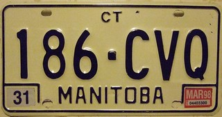 MANITOBA 1983 SERIES with 1998 STICKER ---LATE 1983 SERIES, BLACK NUMBERS COMMERCIAL TRUCK PLATE