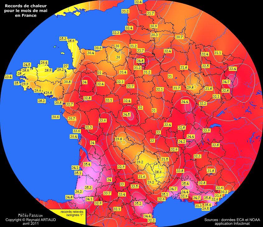 records de chaleur des températures maximales pour le mois de mai en France Reynald ARTAUD météopassion