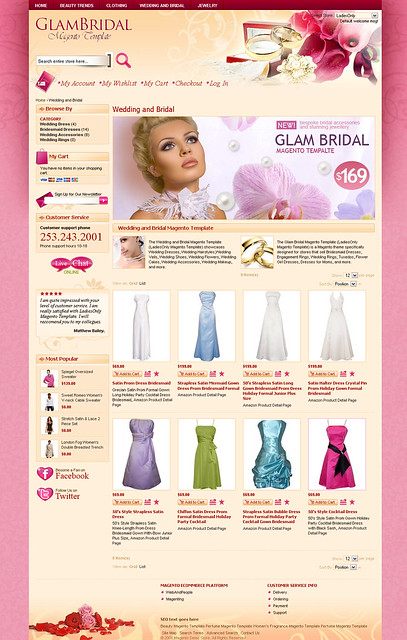 The Wedding and Bridal Magento Template LadiesOnly Magento Template