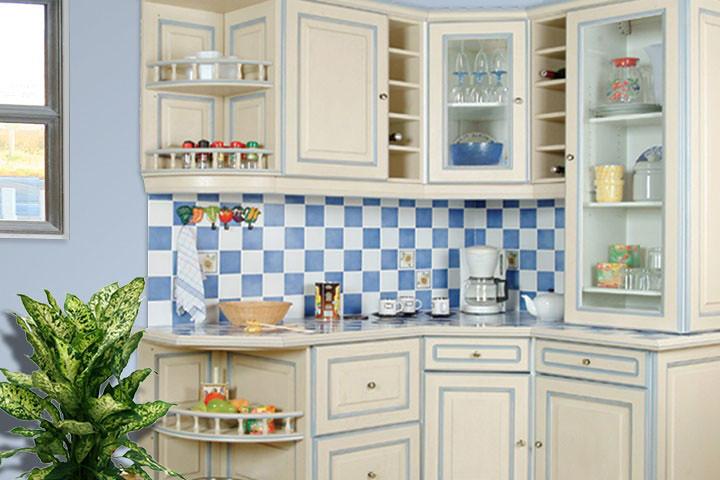 cuisine équipée rustique - modèle traditionnel réchampie bleue - a ... - Model De Cuisine Equipee