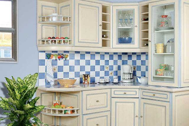 Photo Salon Blanc Et Bois : Cuisine équipée rustique  Modèle traditionnel Réchampie b