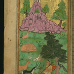 Illuminated Manuscript, Collection of poems (masnavi), A woman plays a stringed instrument in the company of tamed animals and birds, Walters Art Museum Ms. W.626, fol. 170a