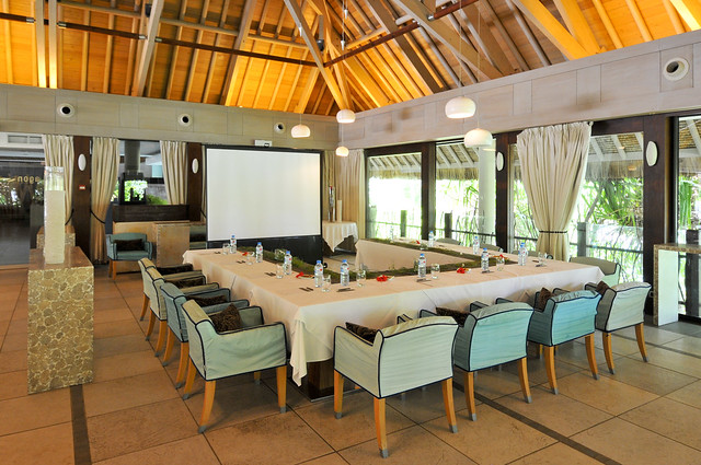 InterContinental Bora Bora Resort & Thalasso Spa set up for groups in the lagon conference room