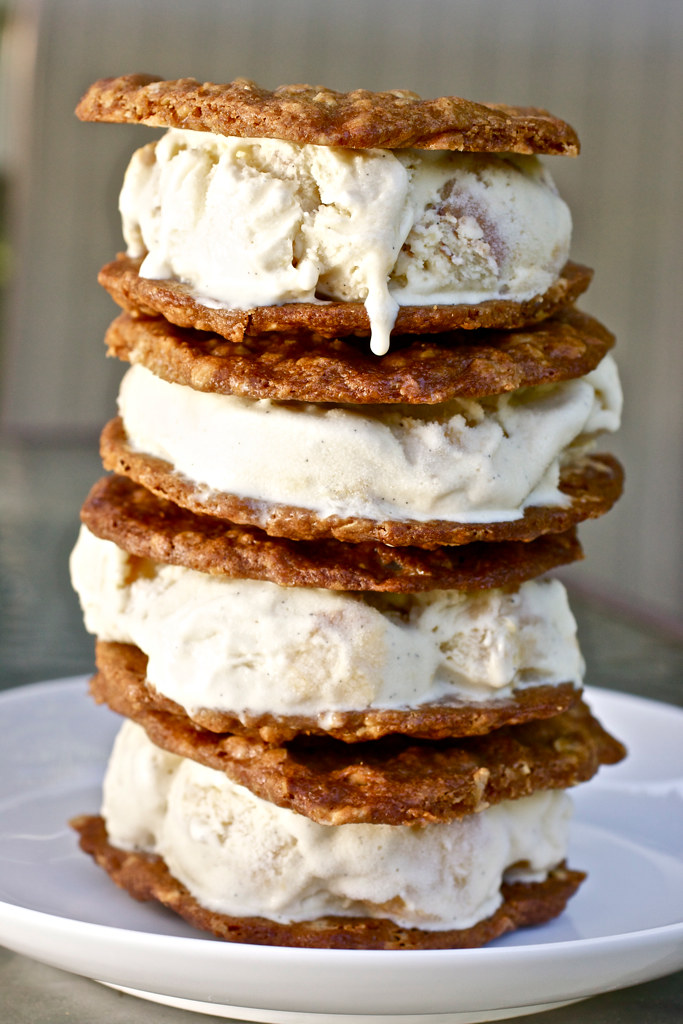 Roasted Peach Ice Cream Sandwiches