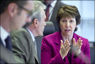 Catherine Ashton discusses the crisis in Libya with Foreign Affairs Committee Vice-Chairman Fiorello Provera