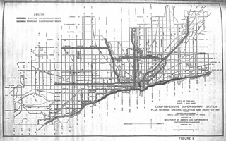 City of Chicago Comprehensive Superhighway System Plan Showing Specific Location and Right of Way, Prepared by Department of Subways and Superhighways (1940)
