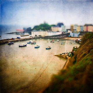 cute fishing village ..Tenby Wales .. tiltshift effect