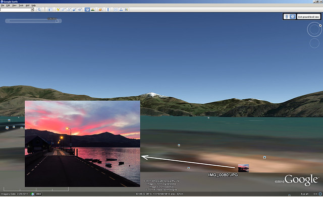 Sunset from Akaroa Jetty - geotagged photo with Google Earth Background