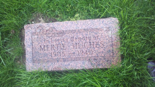 "Grave Stone for Myrtle ""Mertie"" Lakey Hughes, my grandmother  in law"