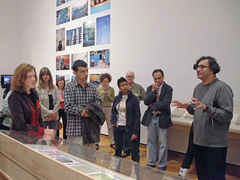 "Iftikhar Dadi, art, leads a discussion on the Tarjama/Translation exhibition as part of the Herbert F. Johnson  Museum of Art's ""Art for Lunch"" public gallery tours."